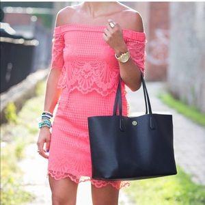 Topshop Coral Lace Off The Shoulder Dress